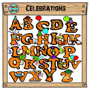 Celebrations & Graduation Alphabet Clip Art