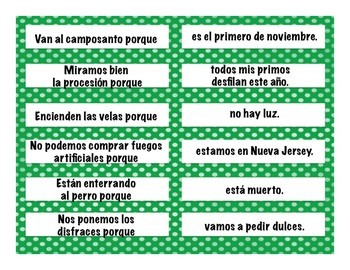 Celebrations (Holidays) Vocabulary Sentence Building: Because