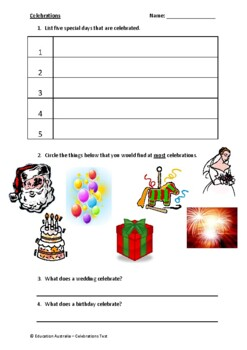 Celebrations Test - K-2 - Birthdays Weddings Christmas Easter
