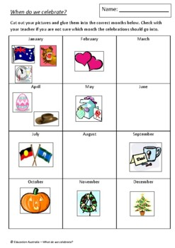 Celebrations - When Do We Celebrate? Activity - Australian