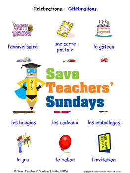 Celebrations in French Worksheets, Games, Activities and Flash Cards