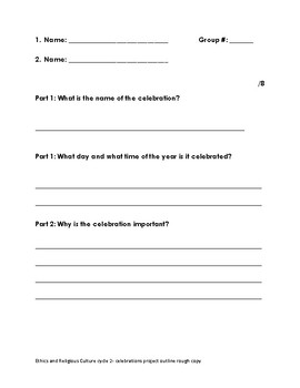 Celebrations- project rough draft outline