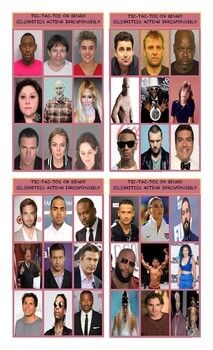 Celebrities Acting Irresponsibly Tic-Tac-Toe or Bingo