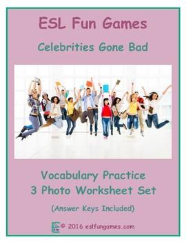 Celebrities Gone Bad 3 Photo Worksheet Set