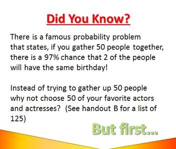 Celebrity Birthday Fun Probability Activity for Pre-Algebra and Algebra classes