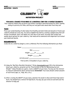 Celebrity Chef - Nutrition Project