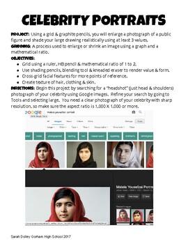 Celebrity Grid Portrait Project Unit Handout by I Heart ...