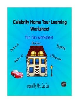 Celebrity Home Tour Learning Worksheet