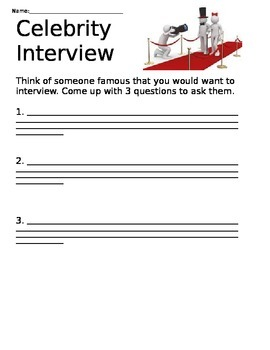 Celebrity Interview Writing Prompt