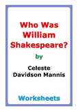 "Celeste Davidson Mannis ""Who Was William Shakespeare?"" worksheets"
