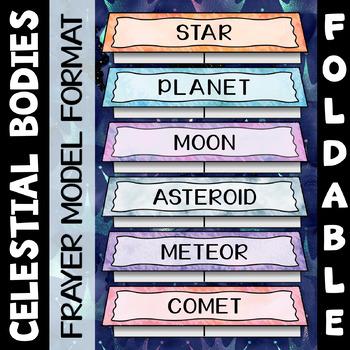 Celestial Bodies Foldable - Frayer Model Format - Great for INBs!