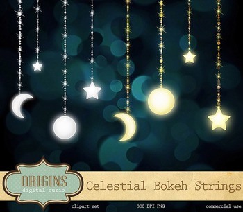 Celestial Clipart Bokeh String Lights Moon and Stars Outer Space