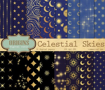Celestial Digital Backgrounds, Sun, Moons and Stars Night Skies