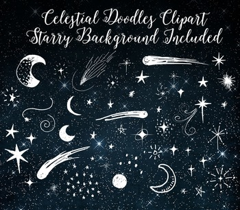 Celestial Doodle Moon and Stars Outer Space Vector PNG Clipart