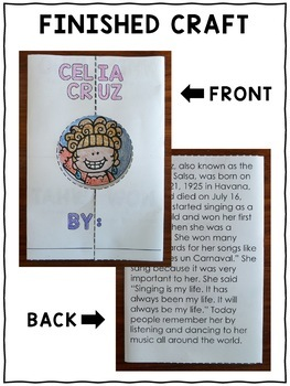 Celia Cruz Hispanic Heritage Craft Activity