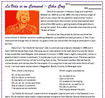 Celia Cruz - La Vida Es Un Carnaval Reading & Listening Activities