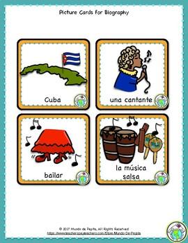 Celia Cruz Spanish Minibook and Activity Theme Pack