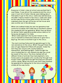 Celia goes to the Circus (Who, What, When, Where, Why, How) The 5 W's