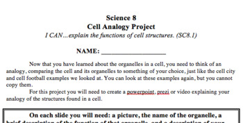 Cell Analogy Project - No Prep!