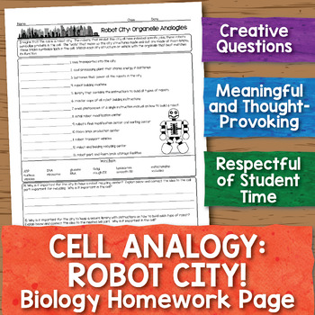 Cell Analogy Robot City Biology Homework Worksheet By Science