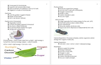 Cell Biology Unit Notes, Unit Plans, Standards and Curriculum Information