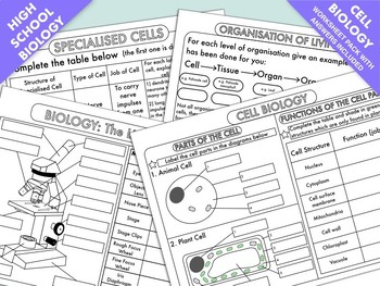 High School Biology: Cell Biology Worksheet Pack | TpT