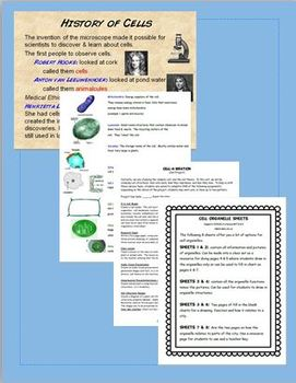 Cell Bundle: Middle School Science: Common Core: NGSS: FUN labs, writing, & note