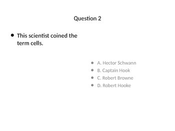 Cell, Cell Theory, Organelle Quiz