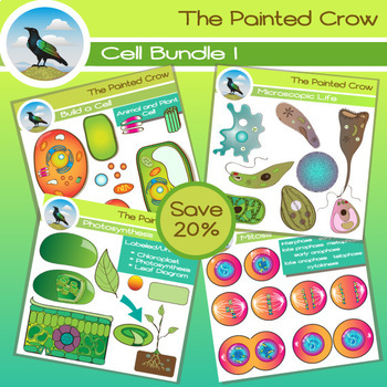 Cell Clip Art Bundle - 86 piece Biology set - color & blackline