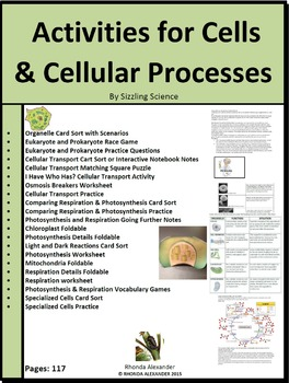 Cells & Cellular Processes Activities
