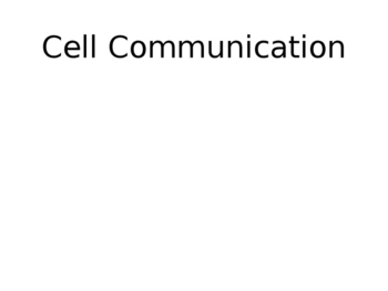Cell Communication Lecture Slides