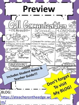 Cell Communication Sketch Notes Doodle Notes w/Teacher's Guide & Student Notes!!