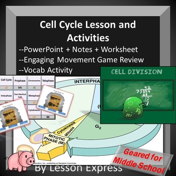 Cell Cycle Lesson -- PowerPoint, Notes, Kinesthetic Review and Review Questions