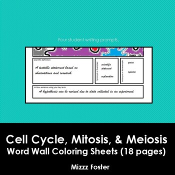 Cell Cycle, Mitosis and Meiosis Word Wall Coloring Sheets (18 pages)