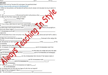 Cell Cycle Worksheet Video
