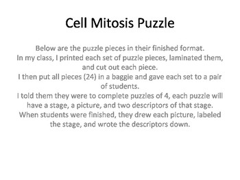 Cell Cycle and Mitosis Puzzles (Jig-saw)