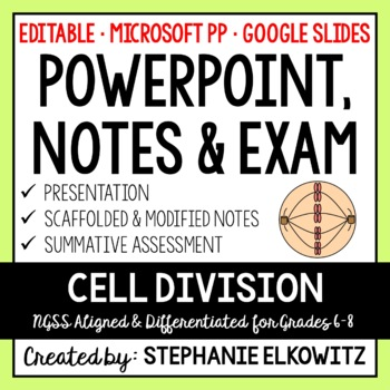 Cell Division PowerPoint, Notes & Exam (Differentiated and