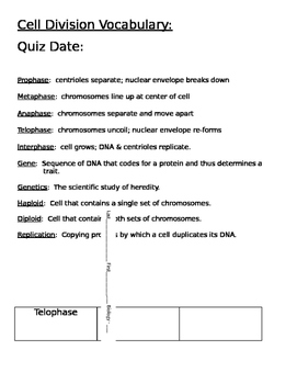 Cell Division Vocabulary/Quiz