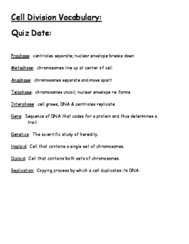 Cell Division Vocabulary and Quiz