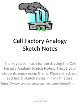 Cell Factory Analogy Biology Sketch Notes Doodle Notes