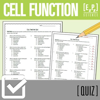 Cell Function Quiz