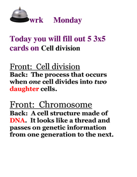 Cell Growth and Division: Bellwork for the Week!