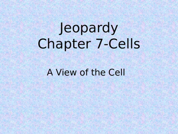 Cell Jeopardy Review Game