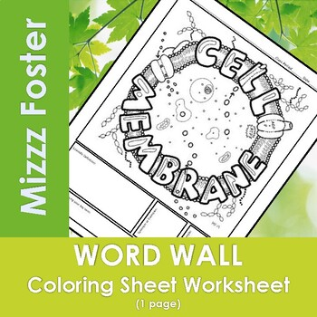 Cell Membrane Word Wall Coloring Sheet