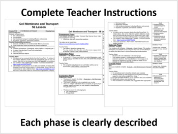 Cell Membrane and Transport - Complete 5E Lesson Bundle