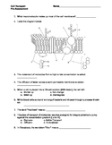 Cell Membrane and Transport PreAssessment