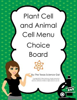 Plant Cell and Animal  Menu Board