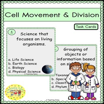 Cell Movement and Division Task Cards