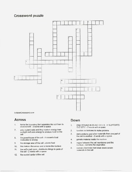 Crossword puzzle for Cell Organelles with answer key