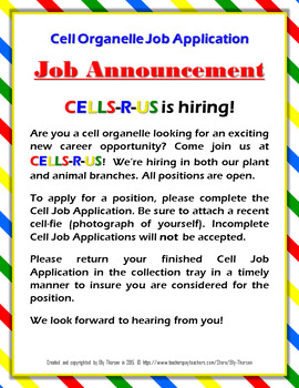 Cell Organelle Job Application Assignment in English and Spanish